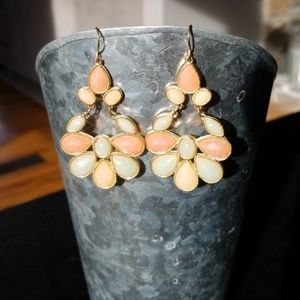 Jewelry - Teal, Pink & Off-White Statement Earrings